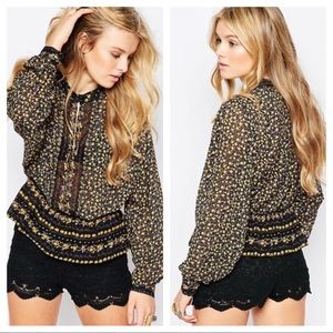 Free People If I Had You Printed Blouse